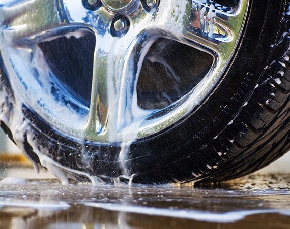 Car wheel being washed