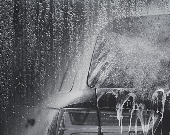 Car in the car wash cycle