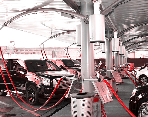 Cars waiting to be vacuumed