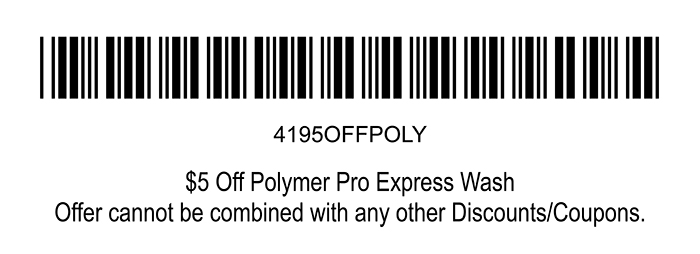 Barcode for $5 Off Polymer Pro Express Wash