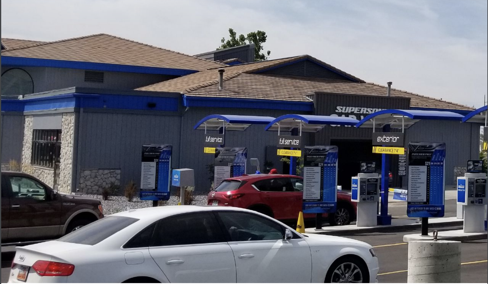 Car wash lot with view of vacuums